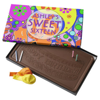 Bright Colorful Sweet Sixteenth Birthday Milk Chocolate Bar