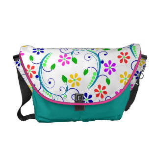 Bright, Colorful Swirly Flowers - Pink/Blue Trim Messenger Bags