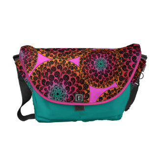 Bright, Colorful, Swirly Spotted  Design Messenger Bags