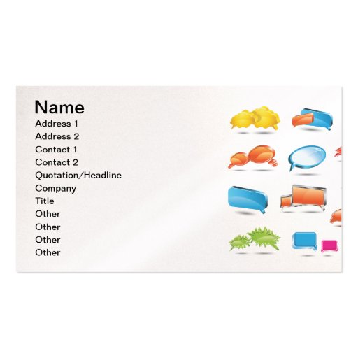 Bright Colorful Text Baloons.ai Business Cards