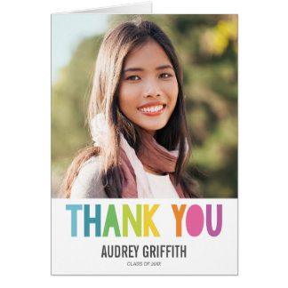 Bright Colorful Thank You Photo Greeting Card