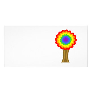 Bright Colorful Tree in Rainbow Colors. Custom Photo Card
