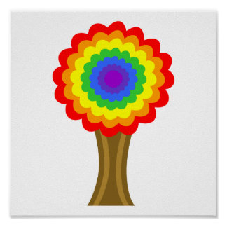 Bright Colorful Tree in Rainbow Colors. Posters