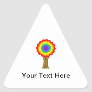 Bright Colorful Tree in Rainbow Colors. Triangle Sticker