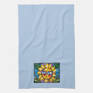Bright & Colorful Tropical Sun on Lt Blue Kitchen Towels
