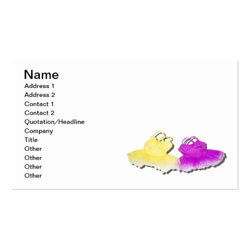 Bright Colorful Tutus Business Card Templates