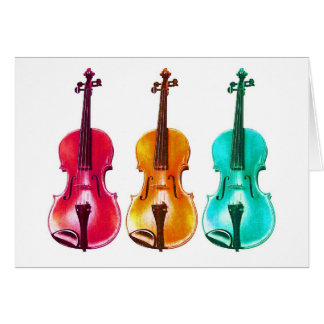 BRIGHT COLORFUL VIOLINS note card