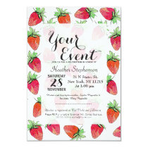 Bright Colorful Watercolor Fruity Strawberries Invitation