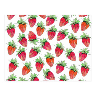 Bright Colorful Watercolor Fruity Strawberries Postcard