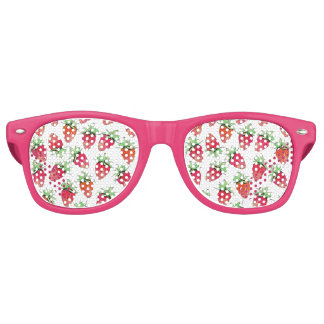 Bright Colorful Watercolor Fruity Strawberries Retro Sunglasses