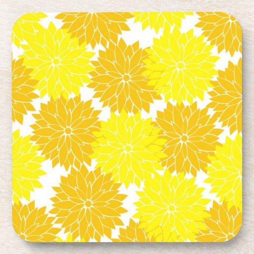 Bright Colorful Yellow Flower Blossoms Floral Beverage Coaster