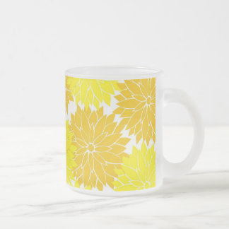 Bright Colorful Yellow Flower Blossoms Floral Frosted Glass Coffee Mug