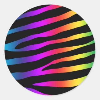 Bright Colorful Zebra Stripes Classic Round Sticker