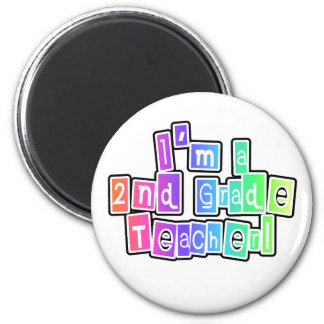 Bright Colors 2nd Grade Teacher 2 Inch Round Magnet