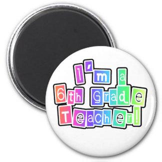 Bright Colors 6th Grade Teacher 2 Inch Round Magnet