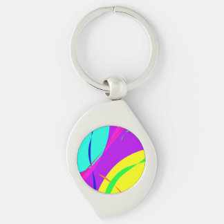 Bright Colors Abstract Design Keychain