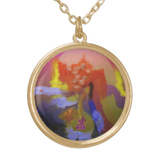 Bright Colors Abstract Round Pendant Necklace