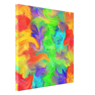 Bright Colors Abstract Swoosh Artwork Canvas