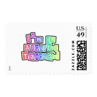 Bright Colors Algebra Teacher Postage Stamps