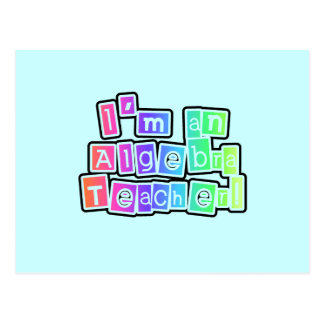 Bright Colors Algebra Teacher Postcard