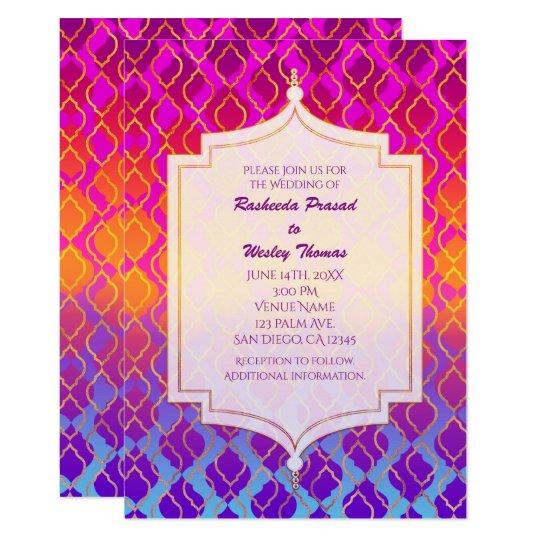 Bright Colors Arabian Moroccan Wedding Invitations Zazzle Com