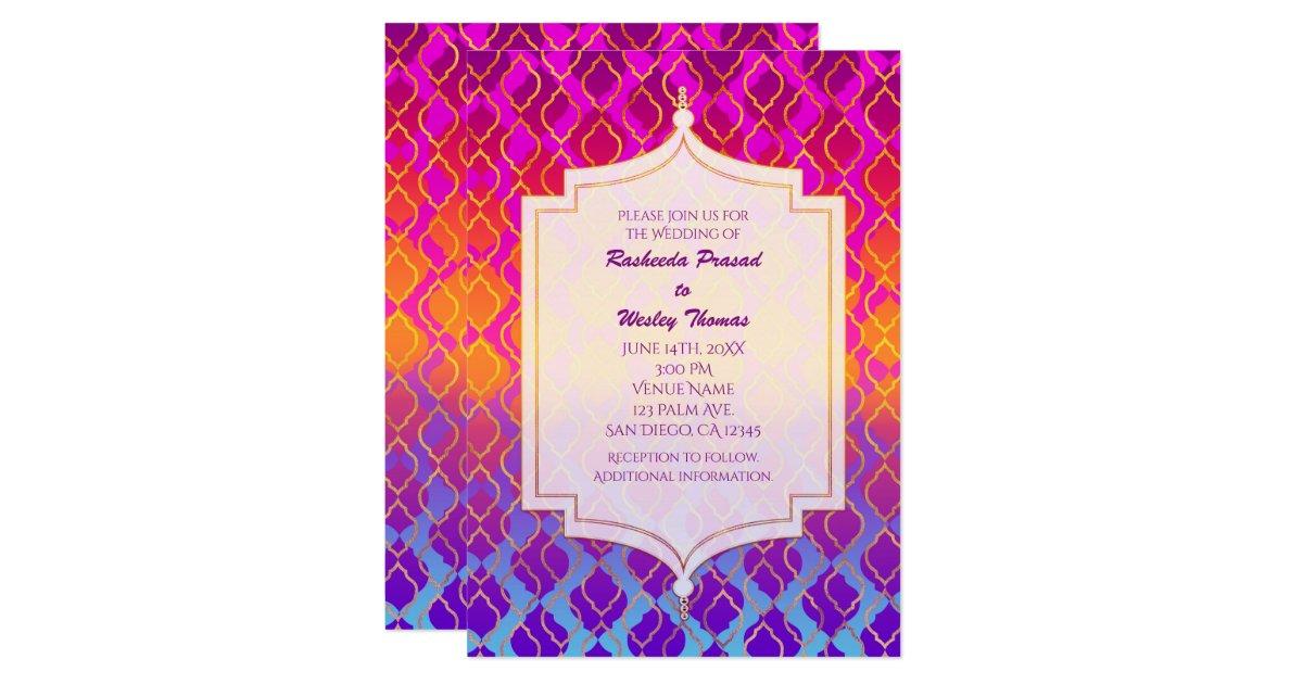 Bright Wedding Invitations: Bright Colors Arabian Moroccan Wedding Invitations