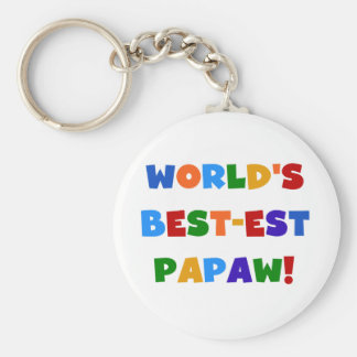 Bright Colors Best-est Papaw Tshirts and Gifts Basic Round Button Keychain