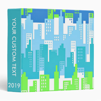 Bright Colors City Highrise Buildings Abstract 3 Ring Binder
