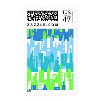 Bright Colors City Highrise Buildings Abstract Postage