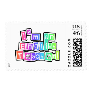 Bright Colors English Teacher Tshirts and Gifts Postage Stamp
