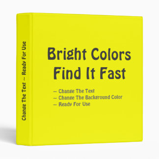 Bright Colors Find it Fast Customizable Binder