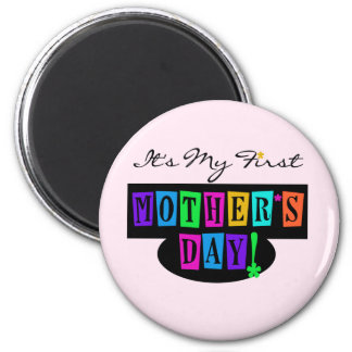 Bright Colors First Mother's Day T-shirts and Gift 2 Inch Round Magnet