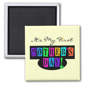 Bright Colors First Mother's Day T-shirts and Gift 2 Inch Square Magnet