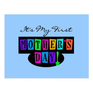 Bright Colors First Mother's Day T-shirts and Gift Postcard
