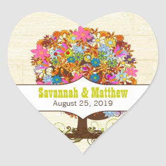 Bright Colors Flower Tree Barn Wood Wedding Seal