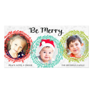 Bright Colors Holiday Photo Card / White