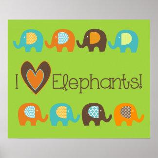 Bright Colors I Love Elephants Nursery Poster