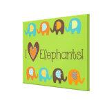 Bright Colors I Love Elephants Wrapped Canvas Canvas Prints