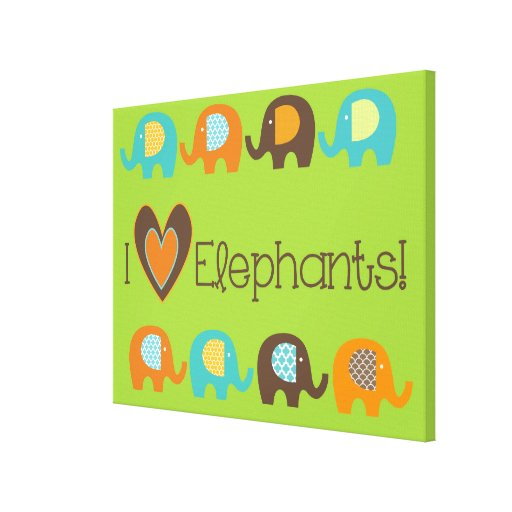 Bright Colors I Love Elephants Wrapped Canvas Canvas Prints