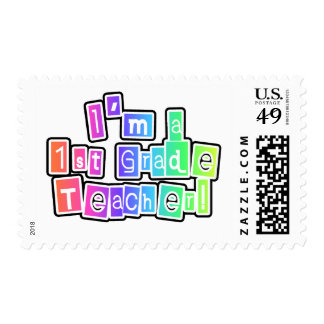 Bright Colors I'm a 1st Grade Teacher Postage