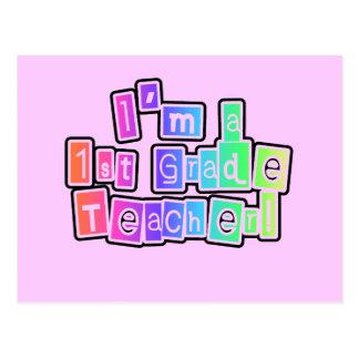 Bright Colors I'm a 1st Grade Teacher Postcard