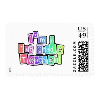 Bright Colors I'm a 1st Grade Teacher Stamp