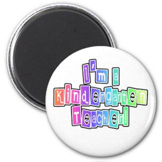 Bright Colors Kindergarten Teacher 2 Inch Round Magnet