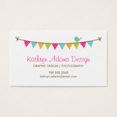 Bright Colors Patterned Bunting And Cute Bird Business Card at Zazzle