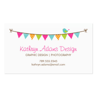 Bright Colors Patterned Bunting and Cute Bird Double-Sided Standard Business Cards (Pack Of 100)