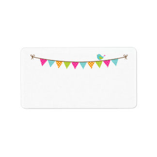 Bright Colors Patterned Bunting and Cute Bird Label