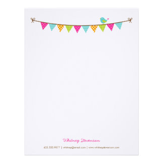 Bright Colors Patterned Bunting and Cute Bird Letterhead