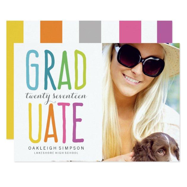 Bright Colors Rainbow Graduation Announcement