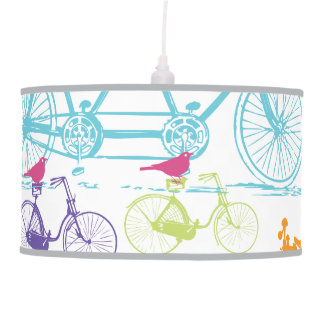 Bright Colors Stylized Vintage Bicycle Pink Bird Hanging Lamp