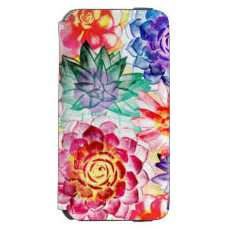 Bright Colors Succulent Plants Artsy Watercolor iPhone 6/6s Wallet Case